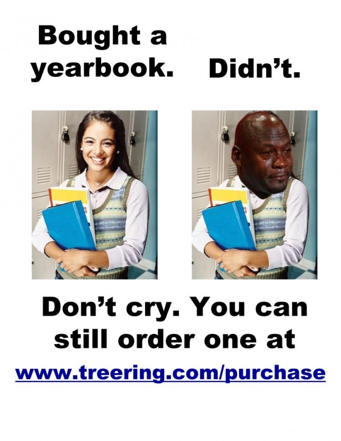Funny yearbook poster: Crying Jordan spinoff