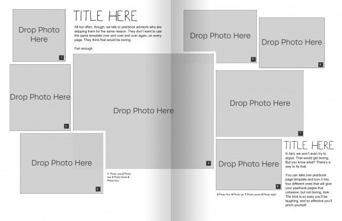 create 4 yearbook layout templates from one master