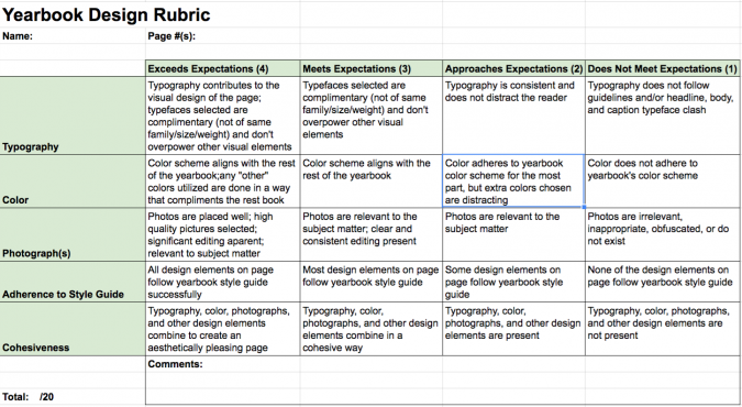 yearbook rubric for grading design
