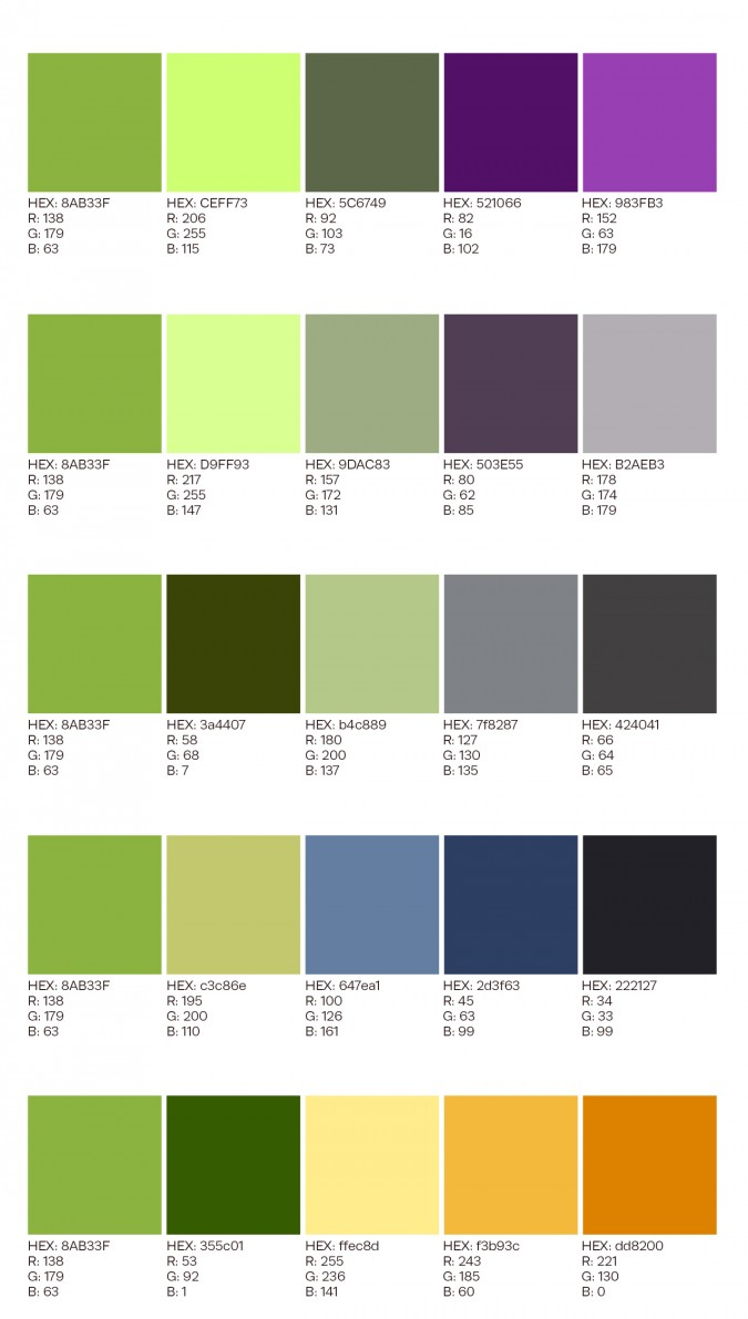 yearbook page design color palettes featuring green