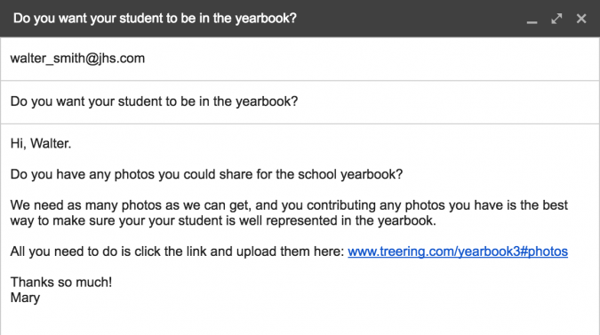 email template for how to get more yearbook photos