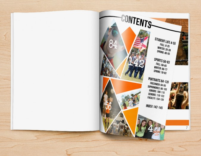 design ideas for yearbook table of contents