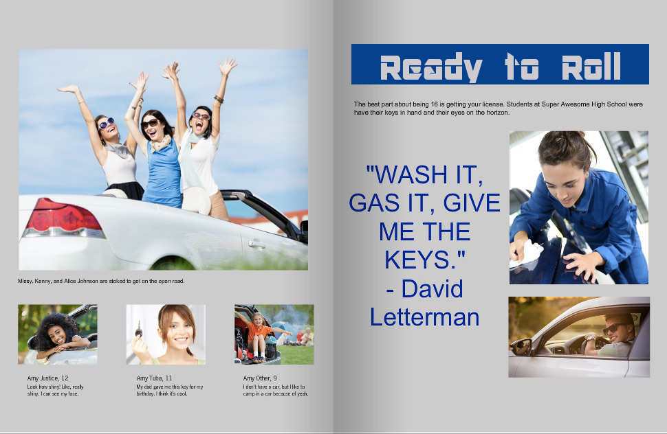 yearbook style guide car spread no style tile